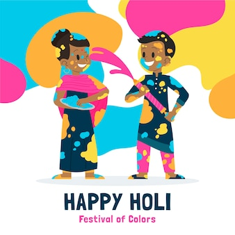 Gente dibujada a mano celebrando la ilustración del festival holi