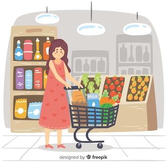 Gente dibujada a mano comprando en el supermercado