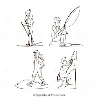 Gente dibujada mano haciendo actividades al aire libre