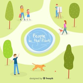 Gente dibujada a mano en el parque