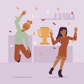 Gente dibujada a mano plana celebrando una ilustración de logro