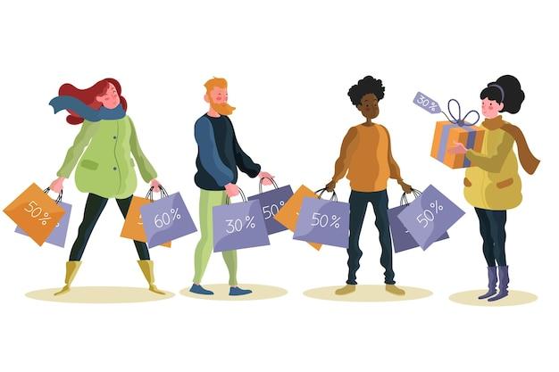 Gente dibujada a mano plana comprando en oferta