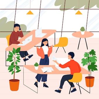 Gente dibujada a mano plana hablando en una gran sala
