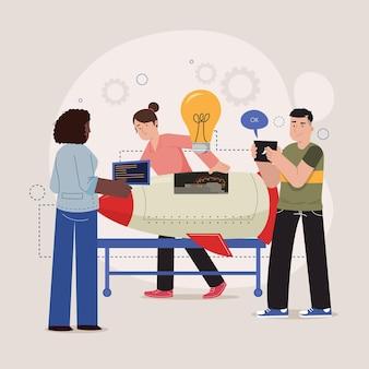 Gente dibujada a mano plana que comienza una ilustración de proyecto empresarial