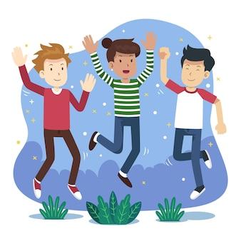 Gente dibujada a mano saltando juntos