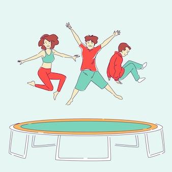 Gente dibujada a mano saltando
