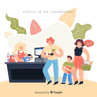 Gente dibujada a mano en el supermercado