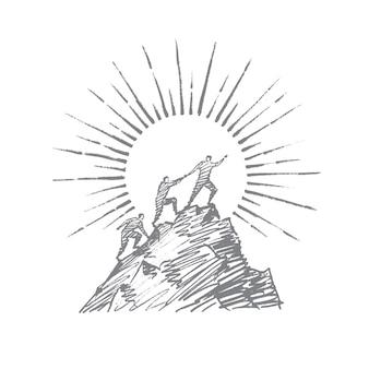 Gente dibujada a mano tratando de escalar montaña.