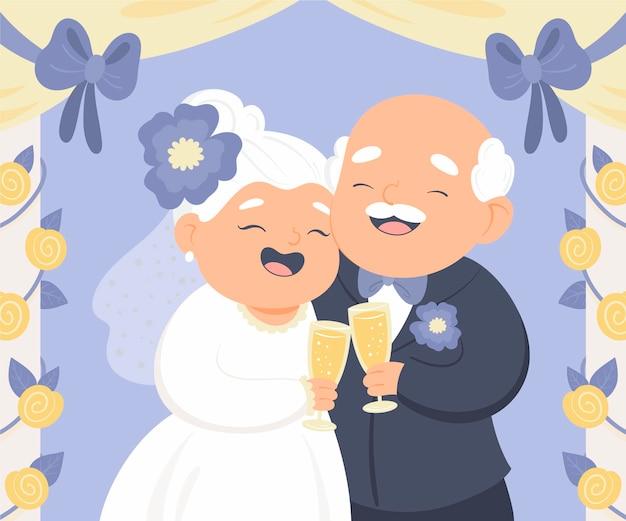 Gente de dibujos animados celebrando el aniversario de bodas de oro