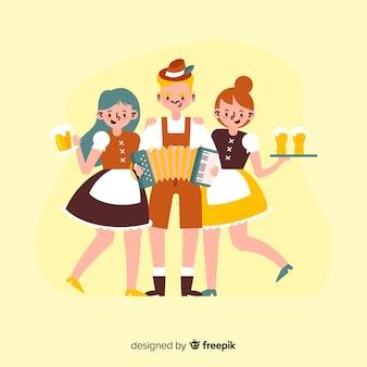Gente de dibujos animados celebrando el oktoberfest