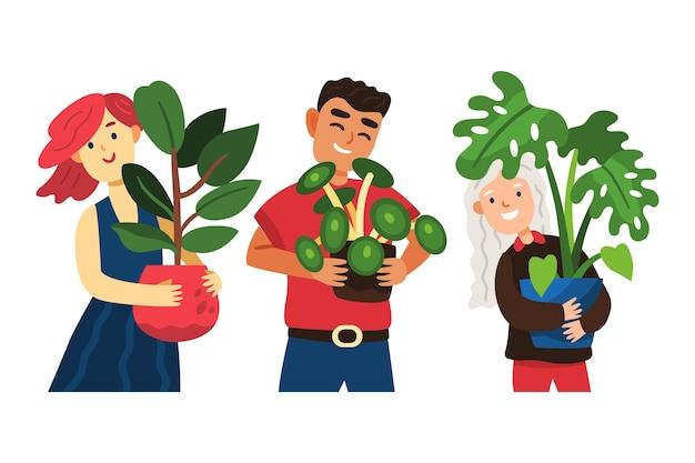 Gente de dibujos animados cuidando la colección de plantas.