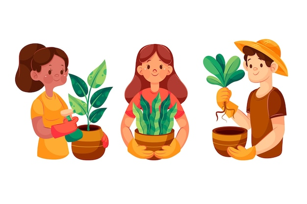 Gente de dibujos animados cuidando plantas ilustradas.