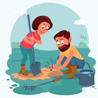 Gente de dibujos animados cuidando plantas