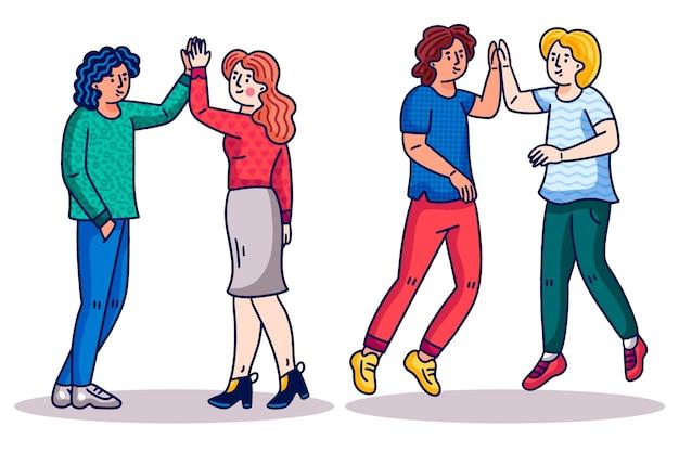 Gente de dibujos animados dando cinco