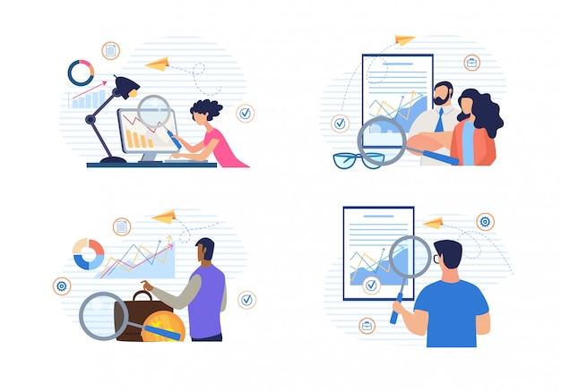 Gente de dibujos animados haciendo análisis financiero conjunto de datos