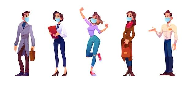 Gente de dibujos animados en máscaras, personajes de hombres y mujeres jóvenes aislados en fondo blanco