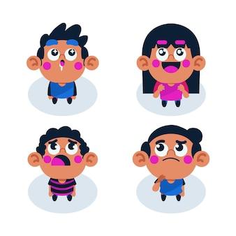 Gente de dibujos animados mirando hacia arriba ilustrada