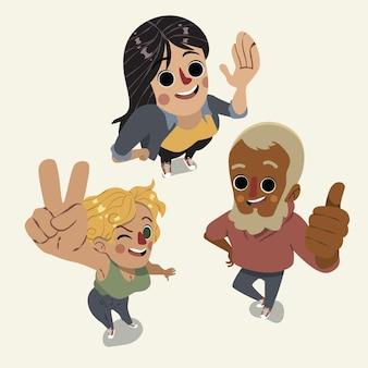 Gente de dibujos animados mirando hacia arriba