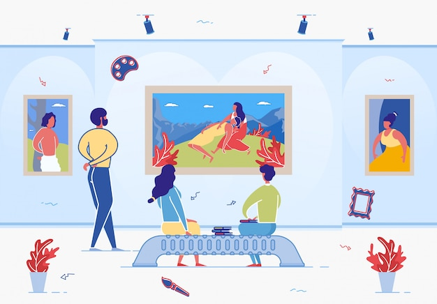 Gente de dibujos animados en el museo de la galería de arte disfruta de la obra de arte