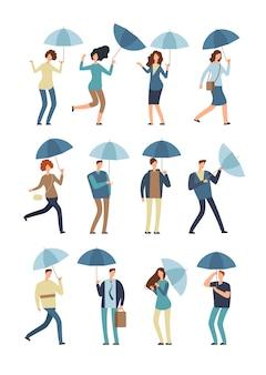 Gente de dibujos animados con paraguas en día lluvioso.