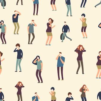 Gente de dibujos animados en patrones sin fisuras de la máscara antipolvo. mala ecología, ilustración de fondo de aire sucio