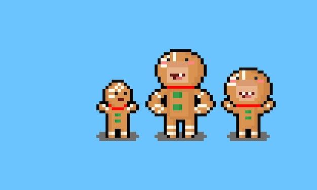Gente de dibujos animados de pixel art cosplay como hombre de pan de jengibre.