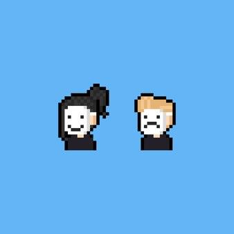 Gente de dibujos animados de pixel art con máscara blanca.
