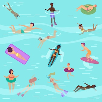 Gente de dibujos animados plana en el mar o el océano nadando, buceando, tomando el sol en colchones de aire flotantes.
