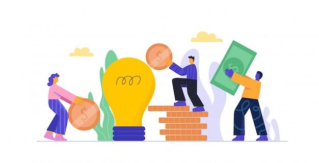 Gente de dibujos animados que pone dinero a la inversión de la hucha bombilla en idea o inicio de negocios