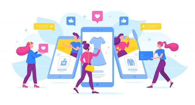 Gente de dibujos animados que usan teléfonos móviles para el comercio