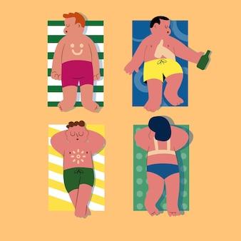 Gente de dibujos animados con una quemadura de sol ilustrada