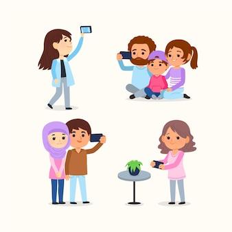 Gente de dibujos animados tomando fotos con el teléfono inteligente