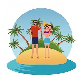 Gente de dibujos animados en vacaciones de verano