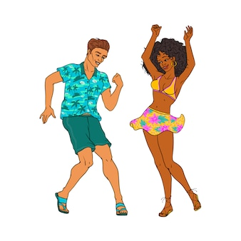 Gente de dibujos animados vector bailando en fiesta en la playa