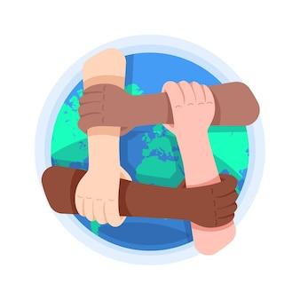 Gente de diferentes colores de piel sosteniendo sus brazos