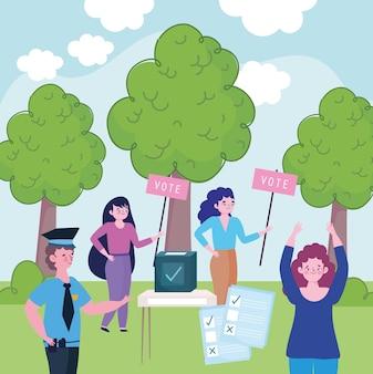 Gente, diferentes ocupaciones, elecciones, urna, papeletas, ilustración
