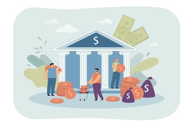 Gente diminuta depositando o sacando dinero de un banco gubernamental. ilustración plana