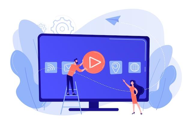 Gente diminuta en una enorme televisión inteligente con iconos de aplicaciones en pantalla. tecnología de smart tv, televisión por internet, concepto de transmisión de televisión en línea