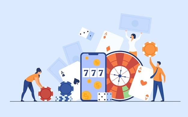 Gente diminuta feliz jugando en el casino en línea