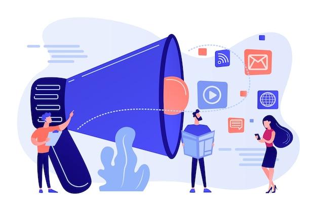 Gente diminuta, gerente de marketing con megáfono y publicidad push. empuje la publicidad, la estrategia de marketing tradicional, la ilustración del concepto de marketing de interrupción