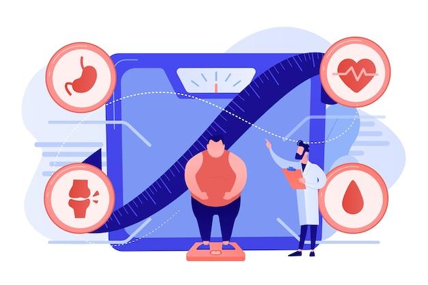 Gente diminuta, hombre con sobrepeso en escalas y médico que muestra enfermedades de obesidad. problema de salud de la obesidad, causas principales de la obesidad, concepto de tratamiento del sobrepeso. ilustración aislada de bluevector coral rosado