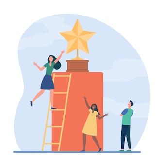 Gente diminuta intentando conseguir una estrella dorada. escalera, premio, recompensa ilustración vectorial plana. competencia y reconocimiento