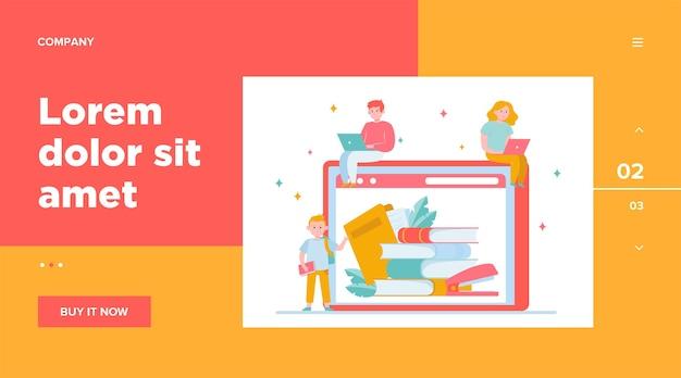 Gente diminuta leyendo libros en la biblioteca en línea. internet, laptop, tecnología. concepto de conocimiento y educación para el diseño de sitios web o páginas web de destino.