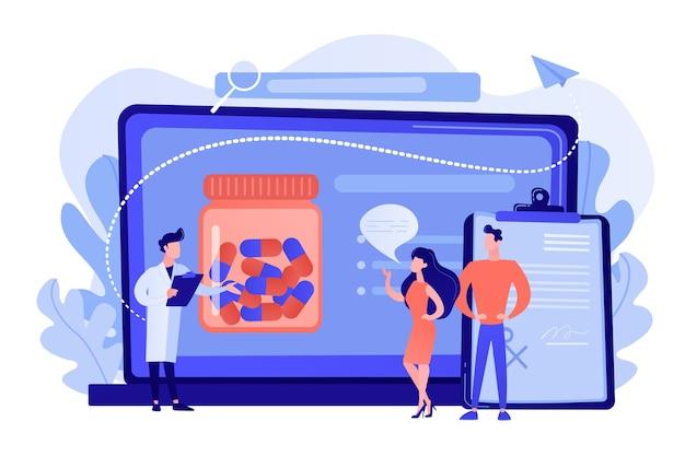 Gente diminuta, médico que prescribe medicamentos a pacientes en línea. sistema de prescripción en línea, sistema de gestión de prescripción, concepto de farmacia en línea. ilustración aislada del vector azul coral rosado rosado