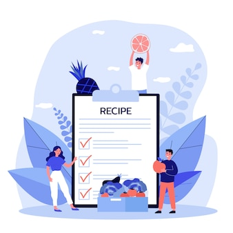 Gente diminuta que elige productos para una nueva receta