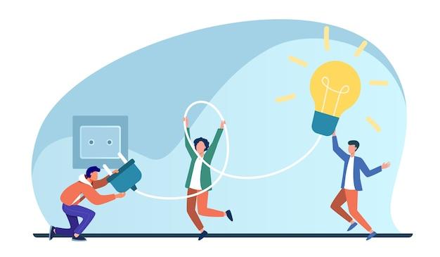Gente diminuta que enciende la bombilla en el casquillo. idea, lámpara, electricidad ilustración vectorial plana. lluvia de ideas y creatividad