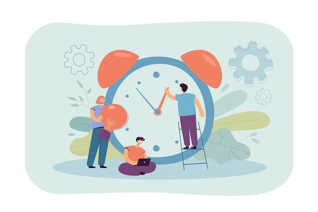 La gente diminuta que trabaja con el reloj de alarma aisló la ilustración plana.