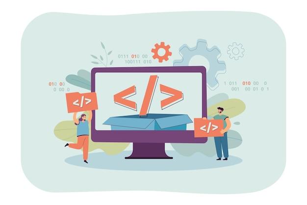 Gente diminuta que usa una plataforma de código abierto