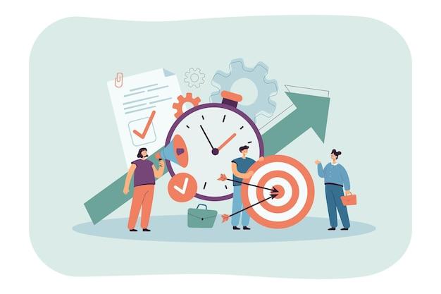 Gente diminuta con reloj, lista de verificación y objetivo.