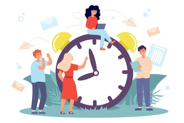 Gente diminuta sentada en un gran reloj